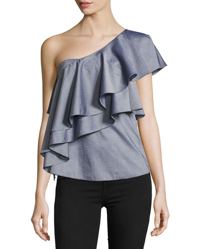 Cascade One-Shoulder Cross-Dyed Italian Shirting Top