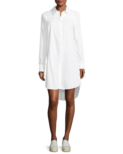 Long-Sleeve Italian Cotton Shirtdress