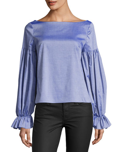 Linda Long-Sleeve Cross-Dyed Italian Shirting Top