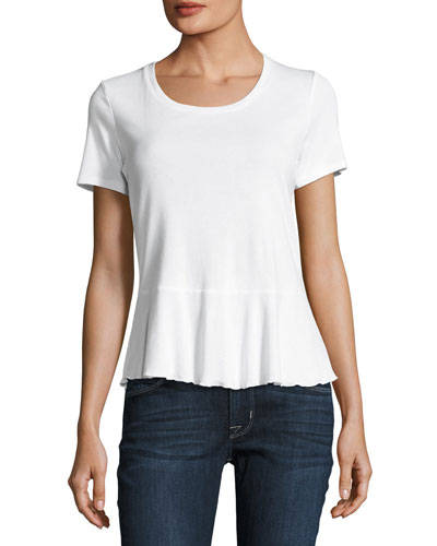 Crew-Neck Short-Sleeve Peplum Tee, White