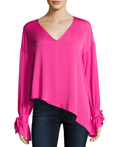 Nicolina Tie-Sleeve Asymmetric Stretch-Silk Top