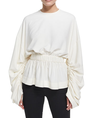 Macy Gathered Long-Sleeve Top, Cream