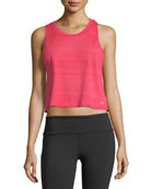 Track Racerback Cropped Mesh-Back Tank Top