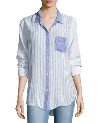 Charli Trio Stripe Linen Top, Blue Pattern