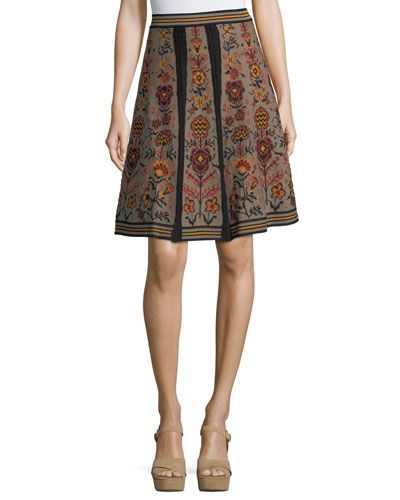 Floral Jacquard Knit Swing Skirt