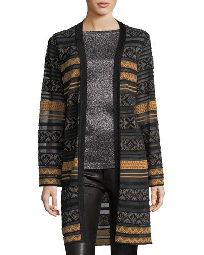 Long Semisheer Chenille Ribbon Knit Cardigan