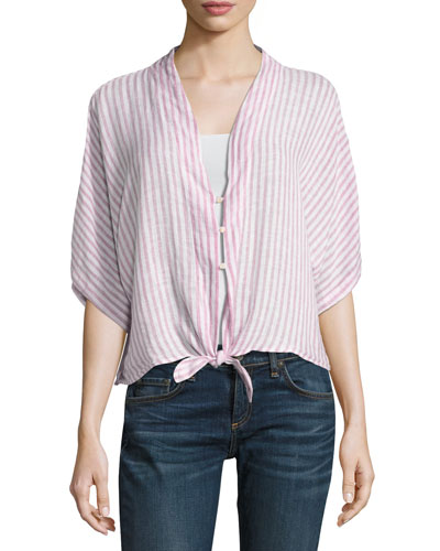 Thea Short-Sleeve Striped Tie-Front Blouse, Pink Pattern