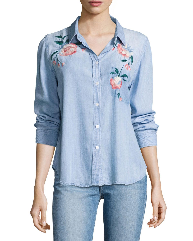 Chandler Floral Embroidered Denim Shirt, Blue