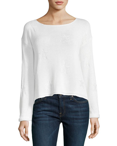 Kalani Long-Sleeve Star-Knit Sweater