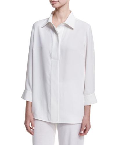 Long Button-Front Bracelet-Sleeve Blouse, Petite