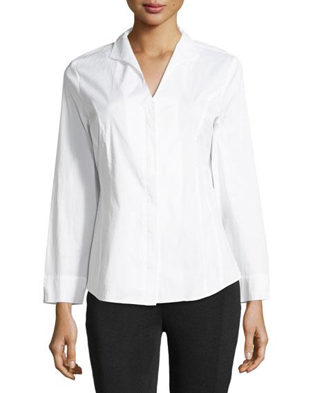 Misook Petite Long-Sleeve Stretch-Cotton Shirt