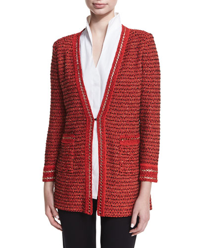 Long Boucle Chain-Detail Jacket, Plus Size
