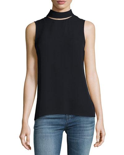 Slit-Collar Sleeveless Georgette Top