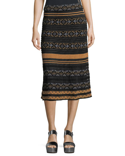 Long Semisheer Chenille Ribbon Knit Skirt