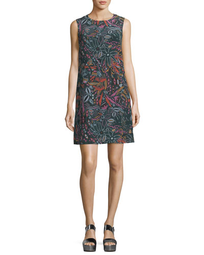 Sleeveless Floral Forest-Print Silk Dress