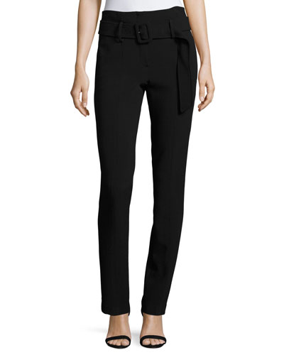 Belt Cigarette Camogie Pants, Black