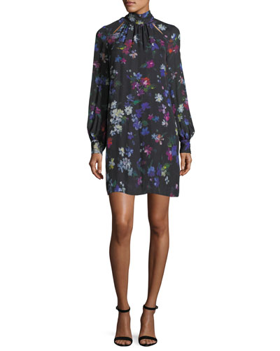 Sherie Long-Sleeve Painted Floral Georgette Silk Minidress