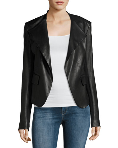 Peplum Jacket Leather Jacket, Black