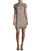 Chloe Short-Sleeve Corded Lace Cocktail Dress