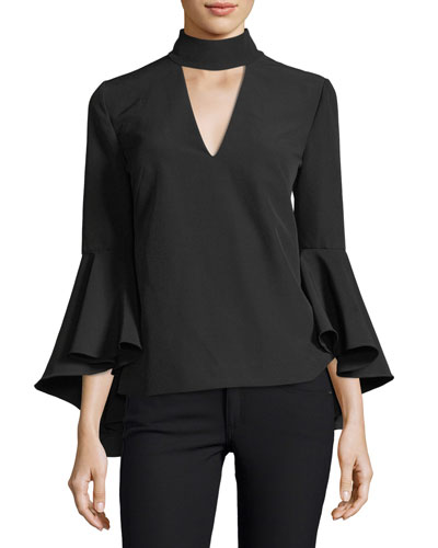 Andrea Mock-Neck Bell-Sleeve Italian Cady Top