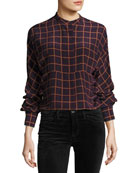 Perfect Dolman York Plaid Blouse Top, Purple