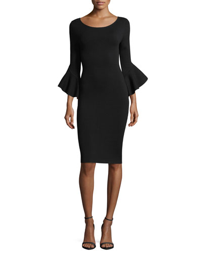 Contrast Draped Bell-Sleeve Sheath Dress