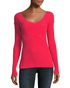 Ribbed Crisscross Pullover