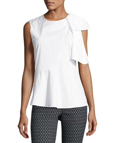 Bow Sleeveless Poplin Top, White