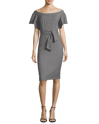 Dakota Off-the-Shoulder Stretch-Wool Gabardine Sheath Dress