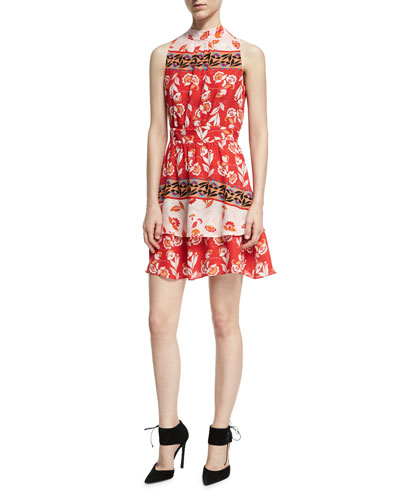 Aurora Sleeveless High-Neck Mini Dress, Red