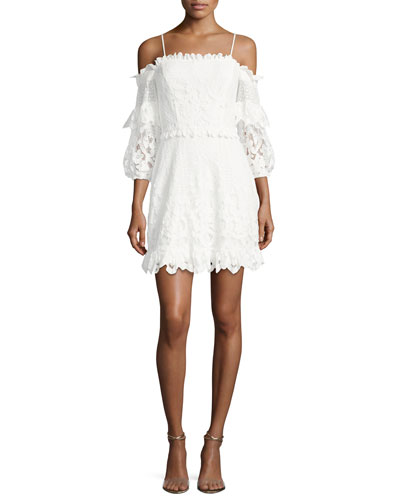Irma Cold-Shoulder Lace Mini Dress, White