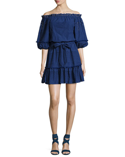 Haven Off-the-Shoulder Poplin Eyelet Mini Dress