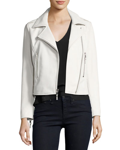 Easton Leather Moto Jacket, White