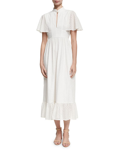Frill Hem Eyelet Cape Dress, White