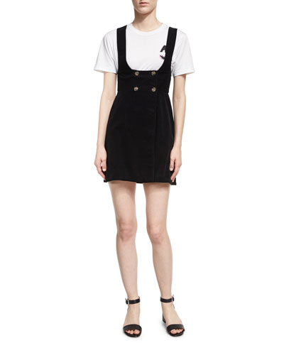 Button-Front Pinafore Dress, Black