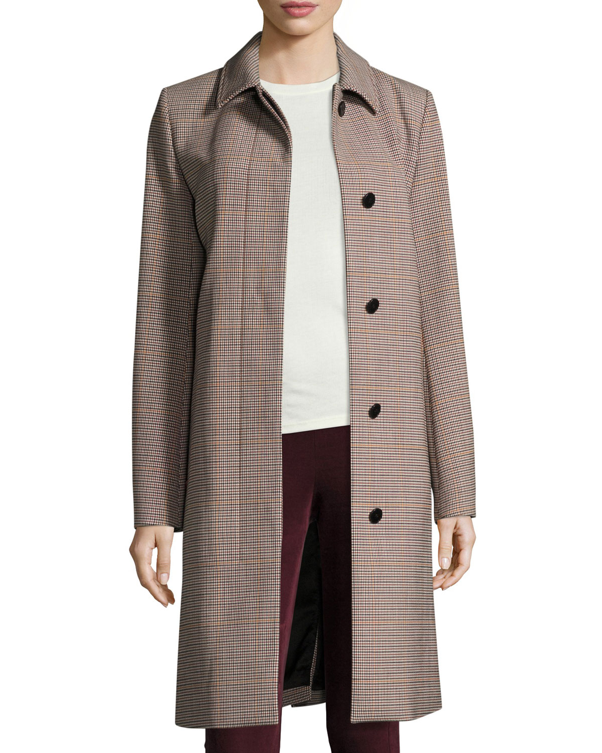 Mod Window Check Portland Coat, Beige Multi