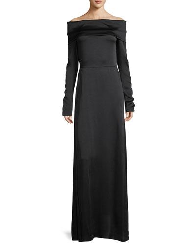 Off-the-Shoulder Long-Sleeve Elegant Maxi Dress