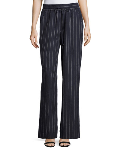 Allen Striped Lago Linen Wide-Leg Pants, Blue Pattern