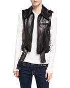 Leather Zip-Front Motorcycle Vest, Black