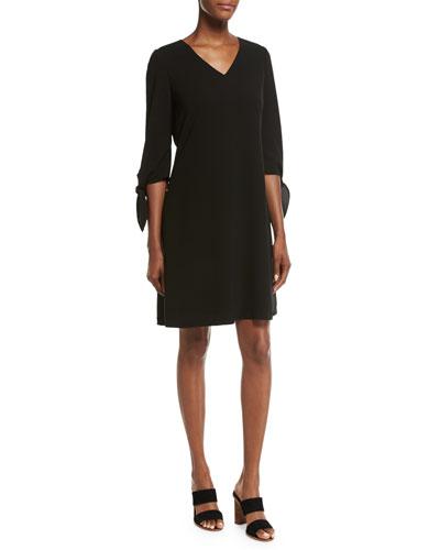 Kenna Split-Sleeve Finesse Crepe Dress