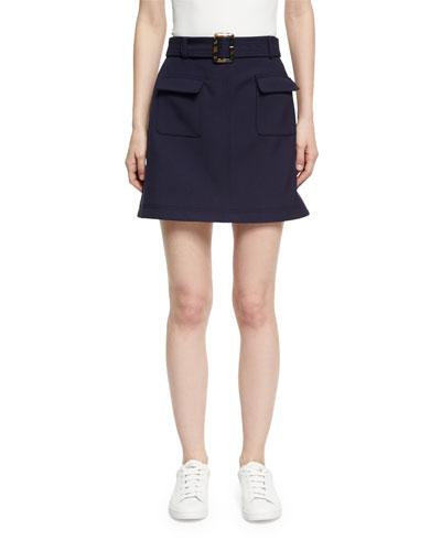 Patch Pocket Cotton Mini Skirt, Navy