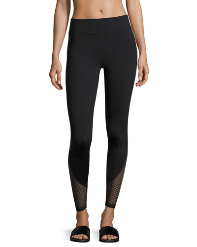 Become Mesh-Hem Performance Leggings, Black