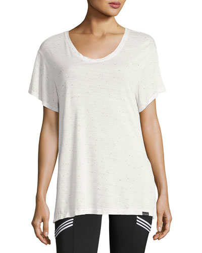 Banded Short-Sleeve Jersey Tee, White
