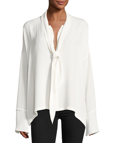 Classic Georgette Scarf Shirt Blouse, White