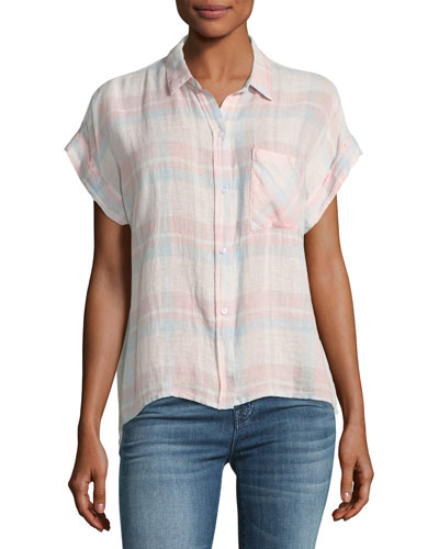 Whitney Short-Sleeve Plaid Linen-Blend Top