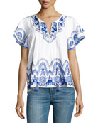 Janis Embroidered Poplin Top, White