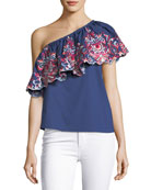 Reba Floral-Embroidered One-Shoulder Poplin Top