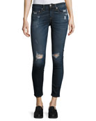 Capri Denim Jeans W/ Rips