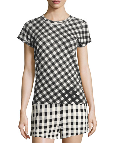 Gingham-Print Slim Cotton Tee