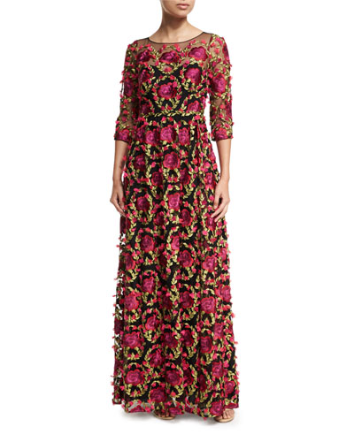 Marchesa Notte Women Embroidered Gown with Bishop Sleeve Coral Floral  embroidery Slim velvet trim at waist